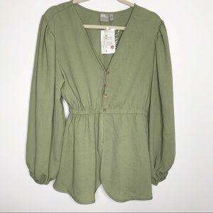 ASOS olive green balloon long sleeve blouse 6